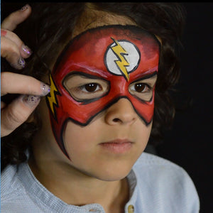 The Flash Face Paint Design Video by Kellie Burrus