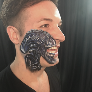 Blue Alien Face Paint Design Tutorial by Shelley Wapniak