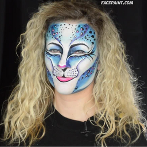 Blue Snow Leopard Face Paint Design Video by Athena Zhe