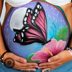 Spring Butterfly Belly Painting by Belén te Pinta