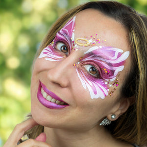 Pink Angel Face Paint Design by Marta Ortega