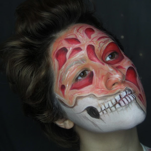 Halloween Mashup: Half Face Freddy Krueger and Skeleton Face Paint by PTBarpun