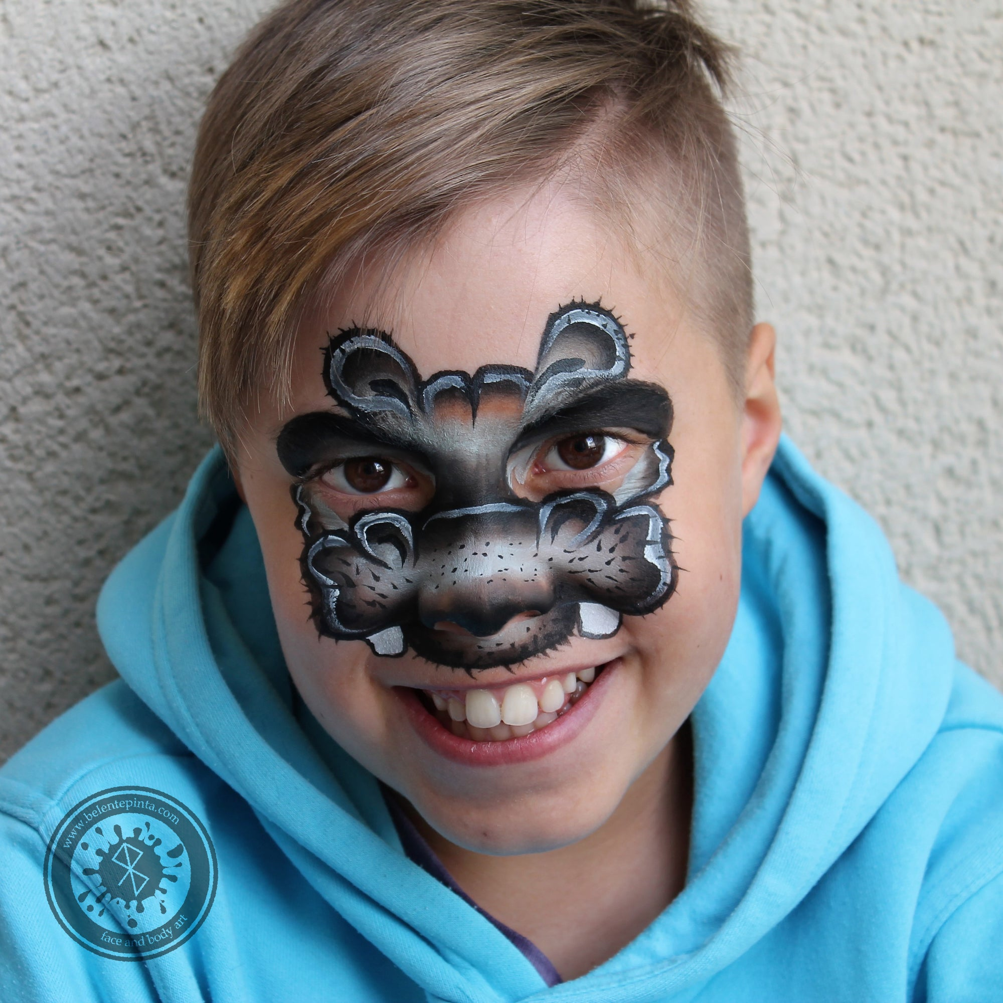 Cute Hippo Face Paint by Belén te Pinta
