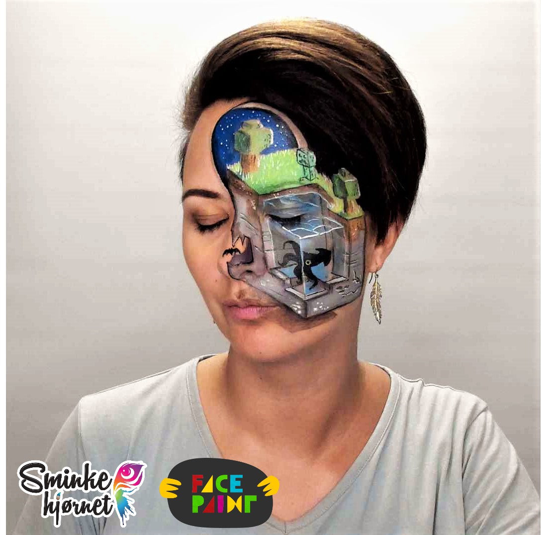 Minecraft Landscape Face Paint Video by Helene Rantzau