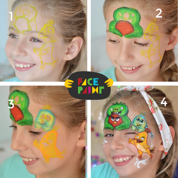 Angry Birds Face Paint Design
