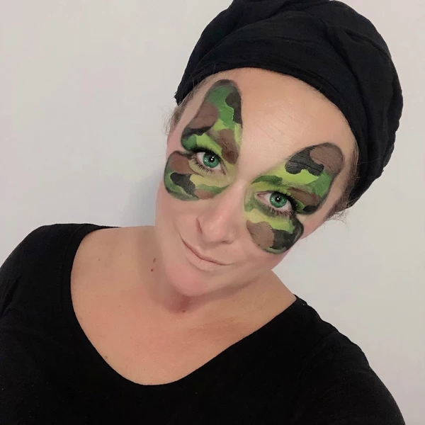 Camo Butterfly Face Paint Design