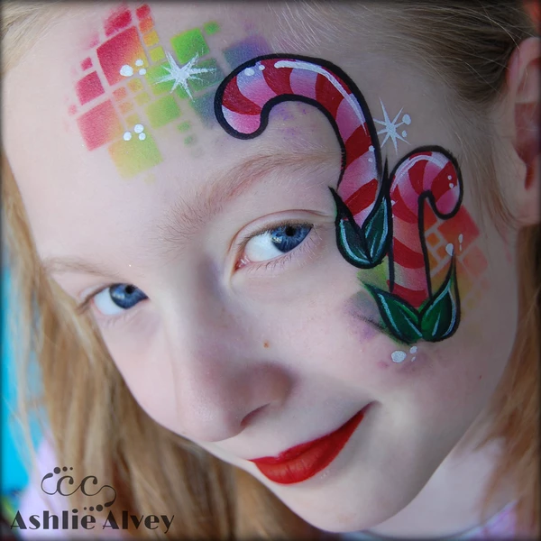Candy Cane Face Paint
