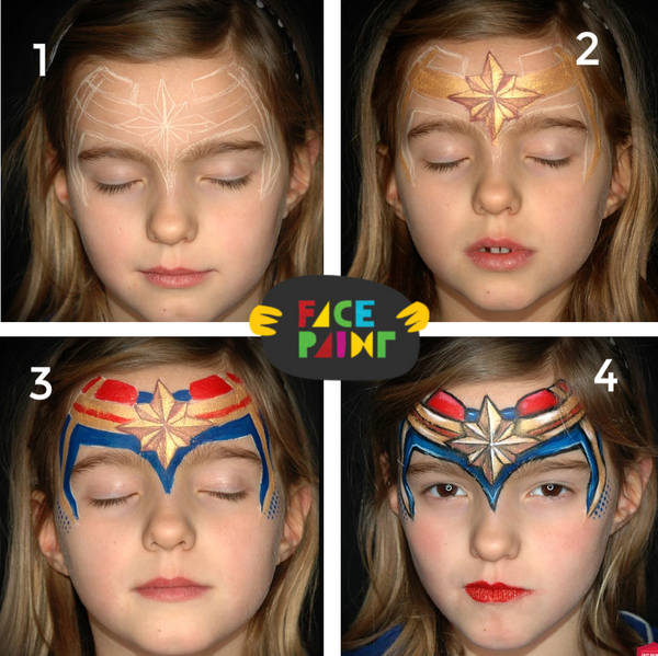 Captain Marvel Crown Face Paint Design