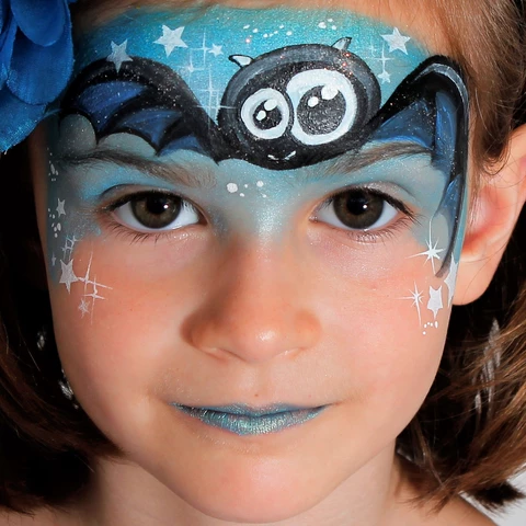 Cool Crazy Bat Face Paint Design