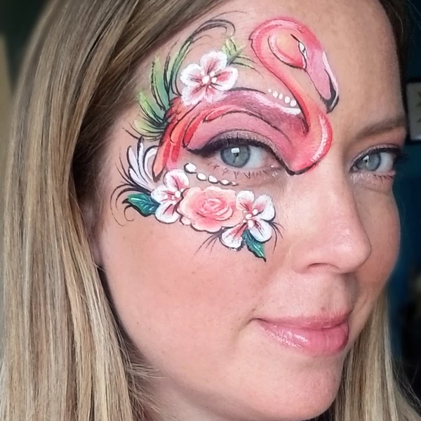 Coral Flamingo Face Paint Design