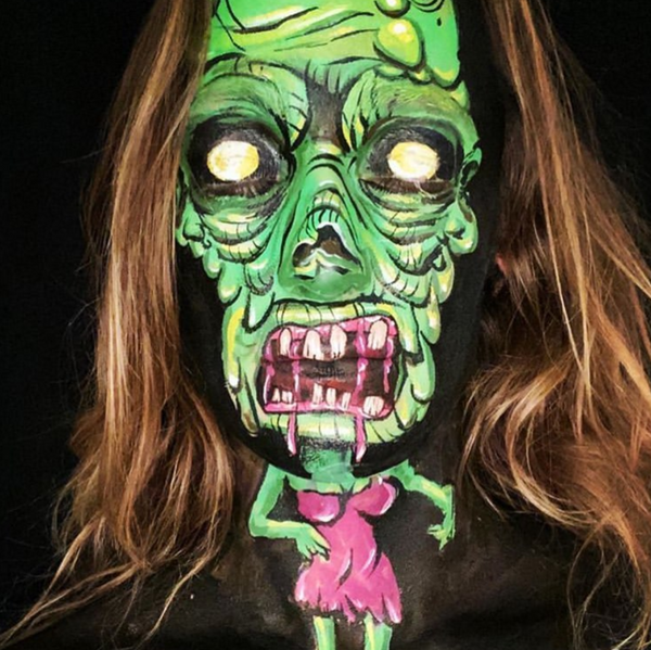 Popart Bombshell Zombie Face Paint Design