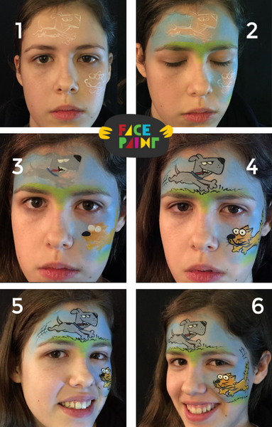 Dog Chasing Cat Face Paint Design