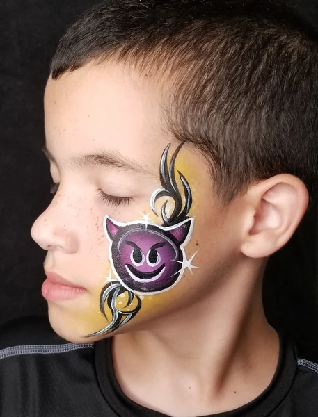 Devil Emoji Face Paint Design