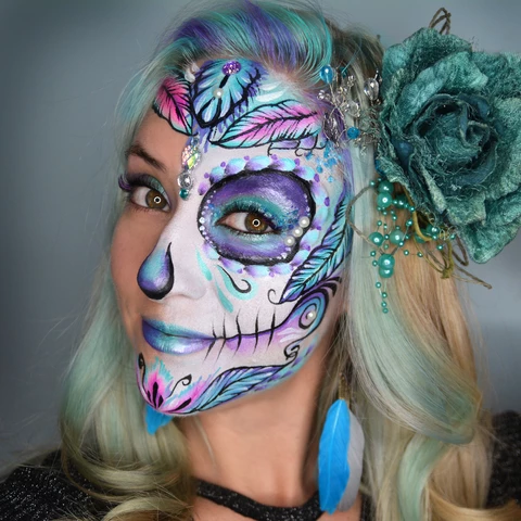 Feathered Sugar Skull Face Paint Design