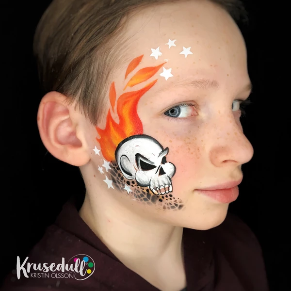 Flaming Skull Face Paint Design
