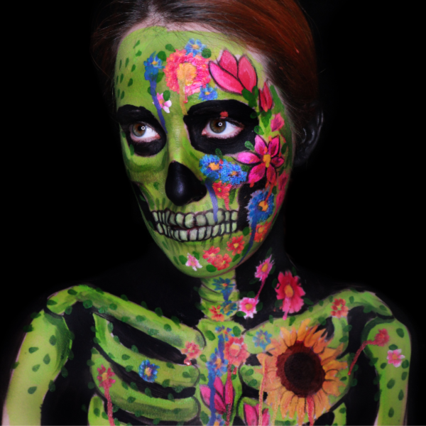 Floral Skull Face Paint Design