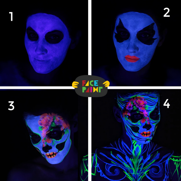 Glow in the Dark Calavera Face Paint Design