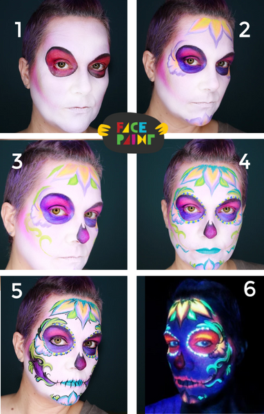 Glow in the Dark Skull Face Paint Design
