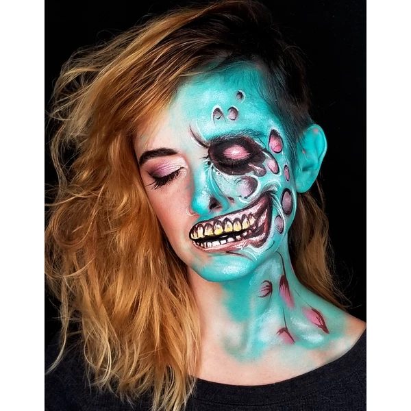 Half Face Zombie Face Paint Design