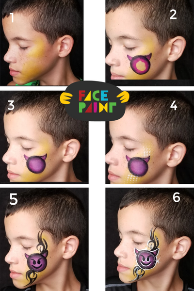 How to Face Paint a Devil Emoji