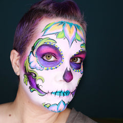 UV Sugar Skull Face Paint by Stacey Perry