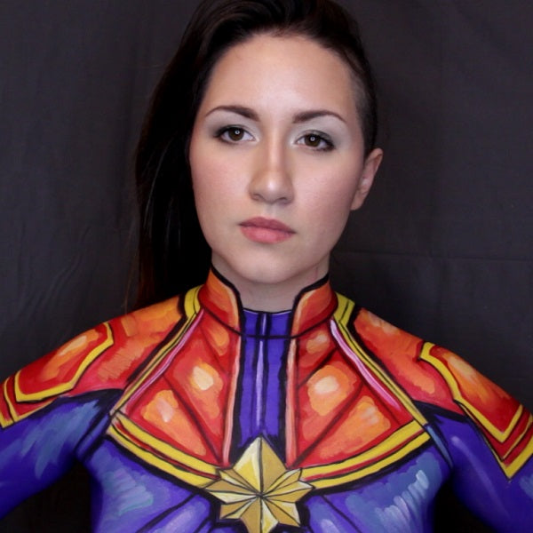 Captain Marvel Comic Style Body Paint Cosplay Video by PTBarpun