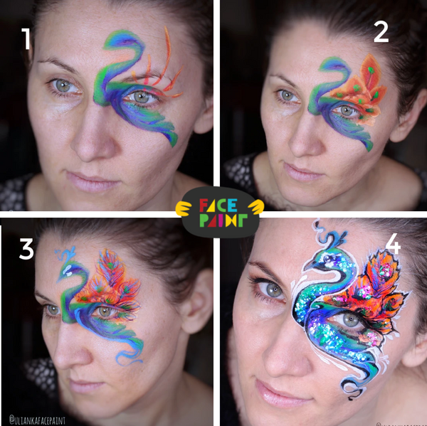 Peacock Face Paint Design by Ulianka