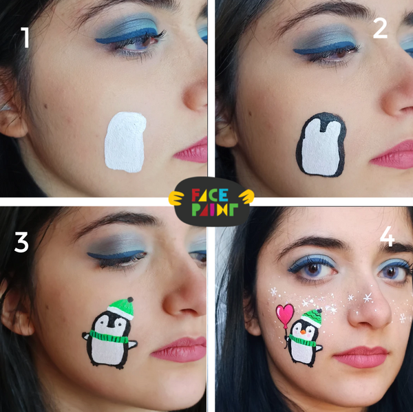 Penguin Face Paint Design