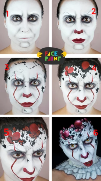 Pennywise Face Paint Design