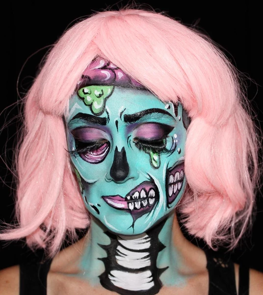 Pop Art Zombie Face Paint Design