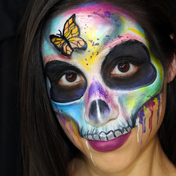 Rainbow Skull Face Paint Design