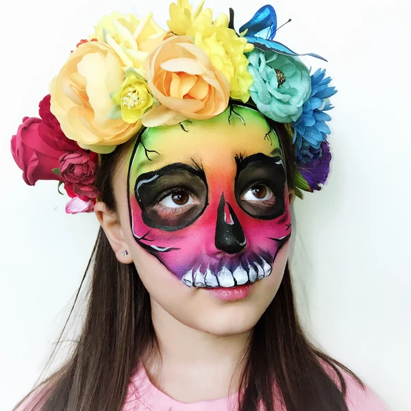 Rainbow Skull Face Paint Tutorial