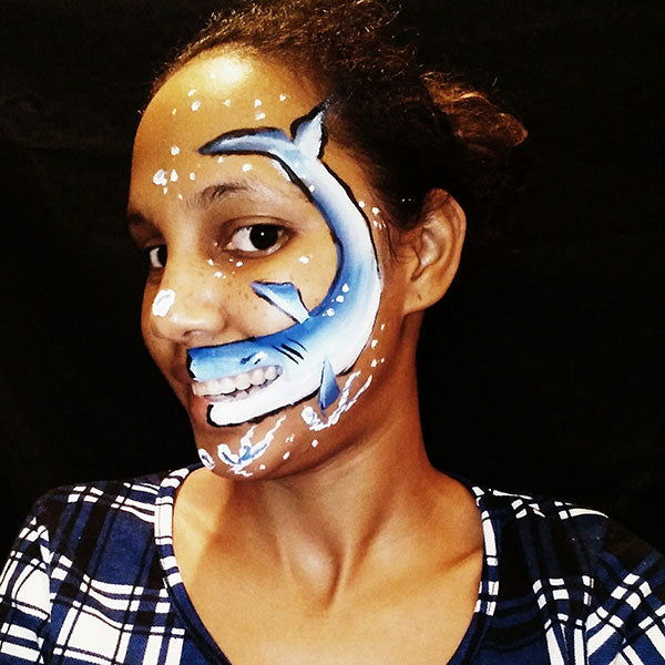 One Stroke Talking Shark Face Paint by Crystal