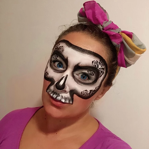 Simple Rose Skull Face Paint Design