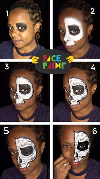 Half Skeleton Face Paint