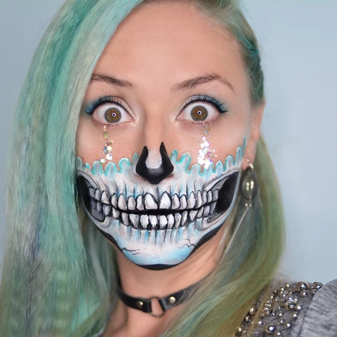 Sparkling Skull Face Paint Design