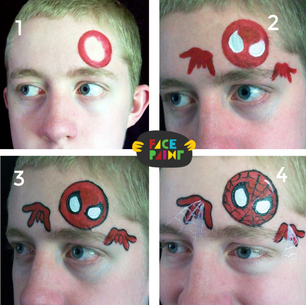 Spiderman Bubblehead Face Paint Design