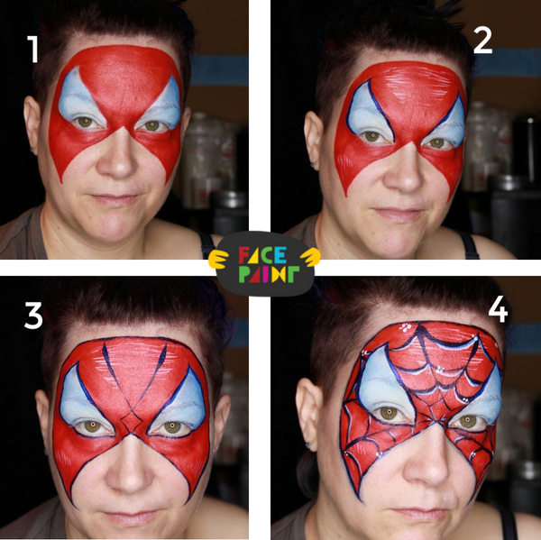 Spiderman Mask Face Paint Design