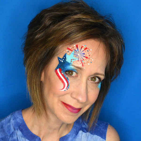Patriotic eye design by pam kinneberg facepaint this festive eye design will work for all ages if you do not have a star stencil just paint them on yourselfat will work just as good solutioingenieria Gallery