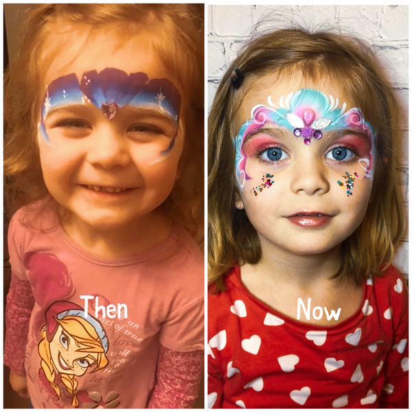 Then Vs Now Face Paint Design