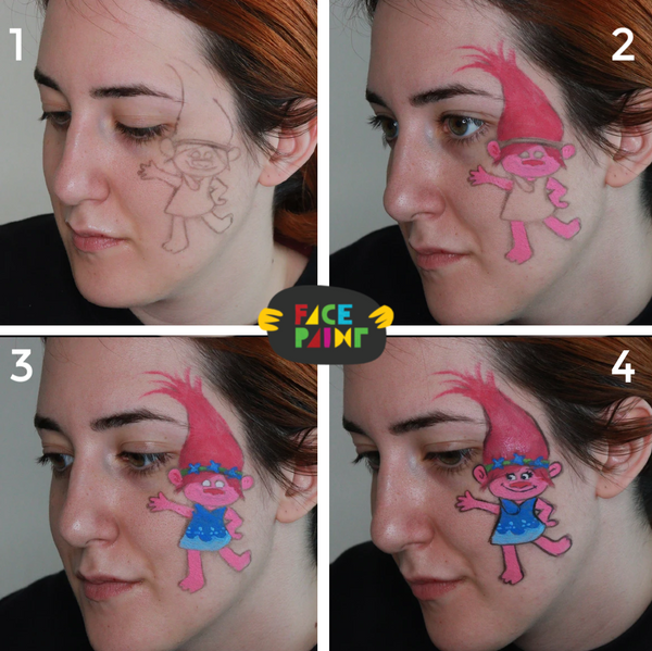Trolls Face Paint Design