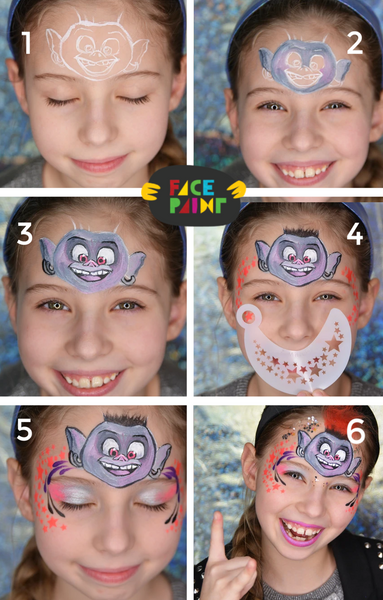 Trolls Movie Face Paint Design