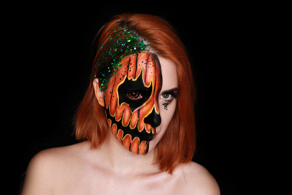 Half Face Pumpkin Face Paint