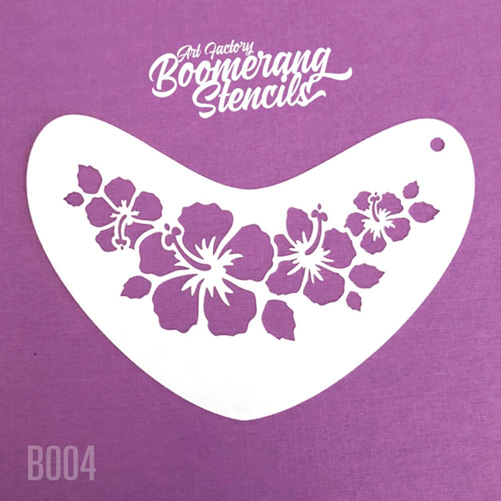 Art Factory Boomerang Stencil - Hibiscus Crown (B004)