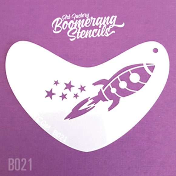 Art Factory Boomerang Stencil - Rocket (B021)