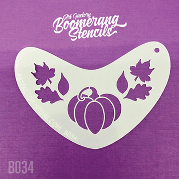 Art Factory Boomerang Stencil - Pumpkin & Leaves Fall Crown (B034)