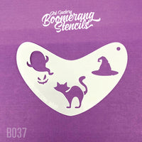 Art Factory Boomerang Stencil - Halloween Cat, Ghost & Witches Hat (B037)