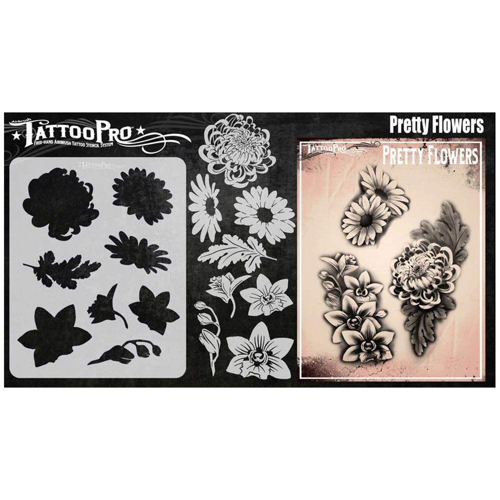 Tattoo Pro Stencils - Pretty Flowers