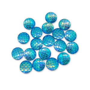 Resin Rhinestone Blings - Flatback, Acid Blue Fish Scale Shine (12 mm, 20/pack)