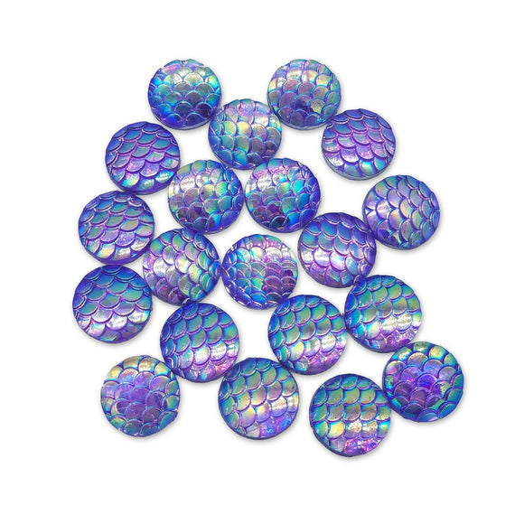 Resin Rhinestone Blings - Flatback, Purple Fish Scale (12 mm, 20/pack)